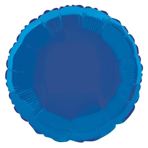 Royal Blue Circle Shape Helium Filled Foil Balloon
