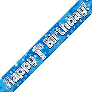 Happy 1st Birthday Blue Holographic Banner