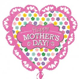 Happy Mother's Day Intricate Heart Supershape Helium Filled Foil Balloon