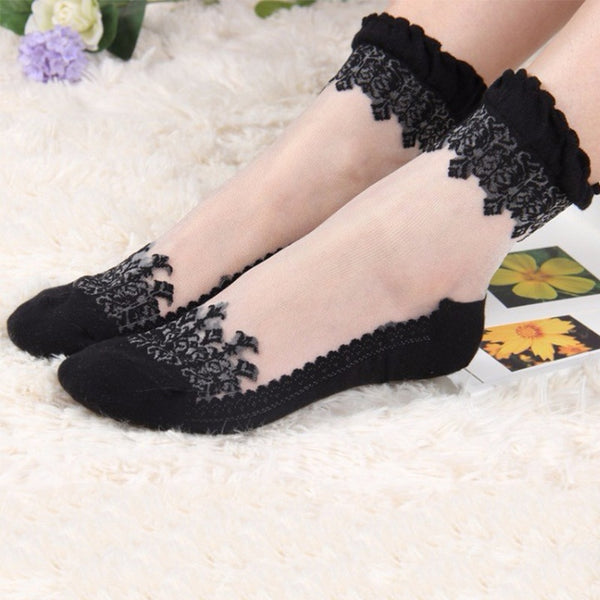 2 Pair Ankle Lace Transparent Socks