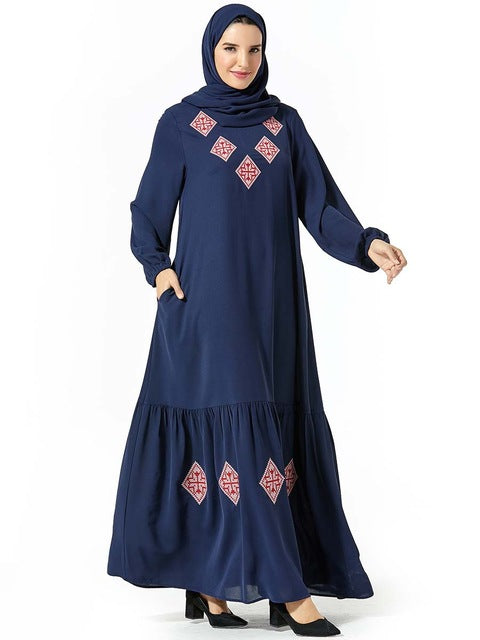 TUHAO Muslim Dresses Plus Size 4XL 3XL Women's Ethnic Style Long Sleeve Party Long Maxi Dress Robe Vestido Abayas for Women WM08