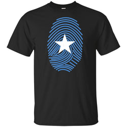 Somali Flag Fingerprint T-Shirt Black For Men-Women Loose Size Top Ajax Tee Shirt