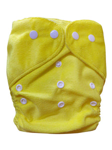 Three Little Imps Minky Colour Range Single Cloth Nappy (inc insert) - Yellow