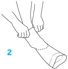Step two diagram how to put on compression socks