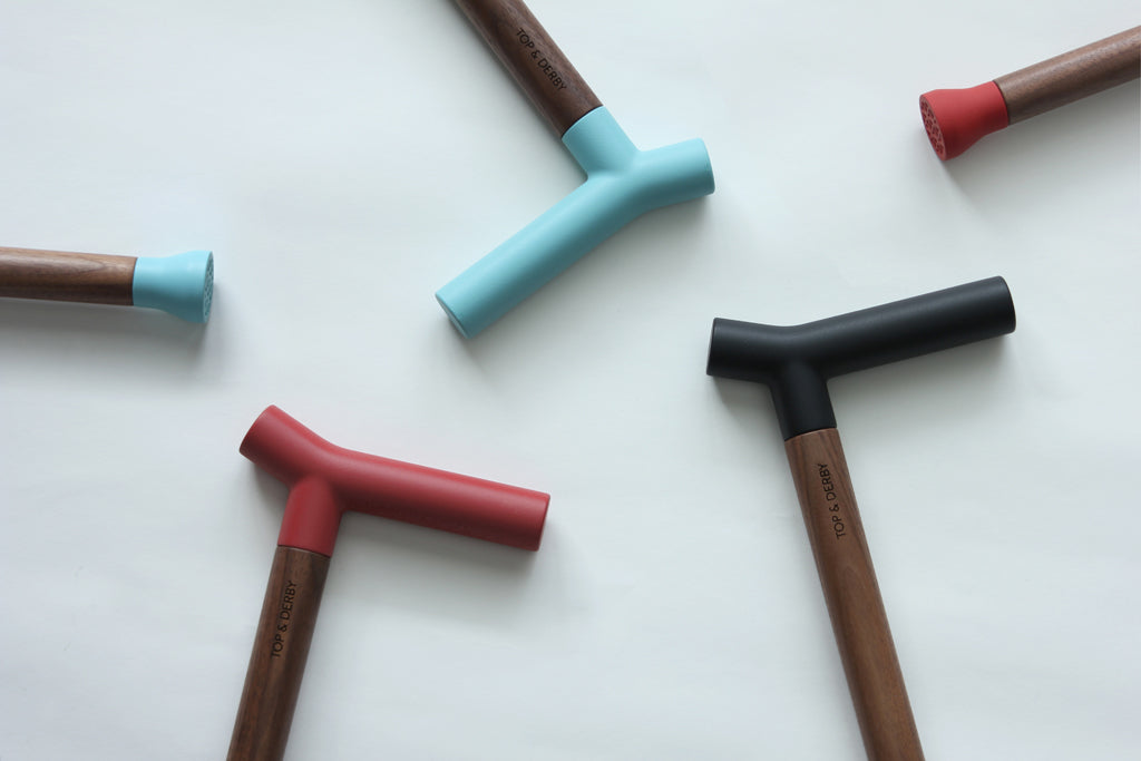 Walking cane handles in different colors