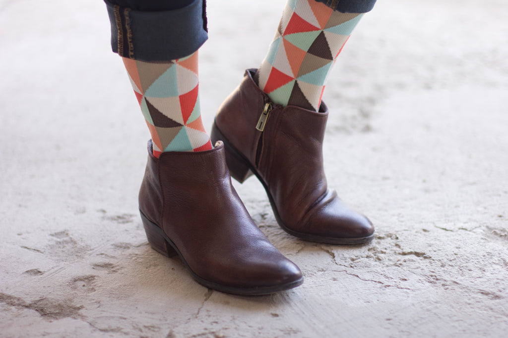 Coral of the Story socks with leather boots