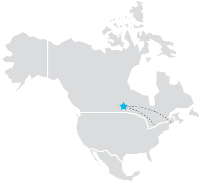 Grey outline drawing of North America map