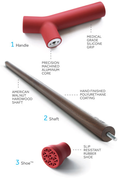 Red walking cane parts diagram