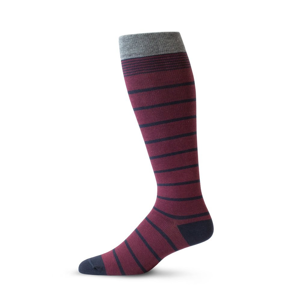Burgundy cotton pressure compression socks with navy pin stripe and grey band