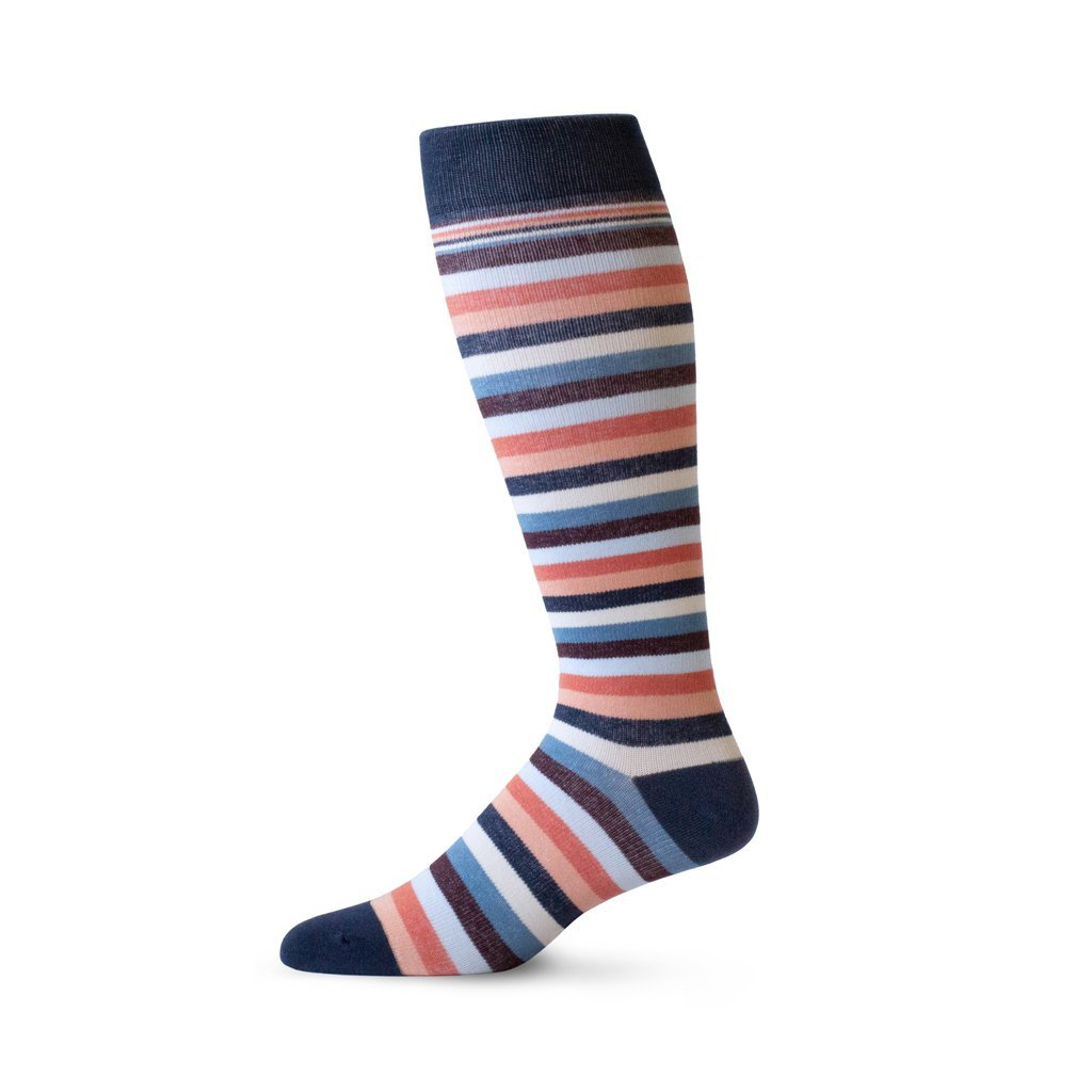 Thin stripe patterned pregnancy compression socks in shades of coral, navy and cream