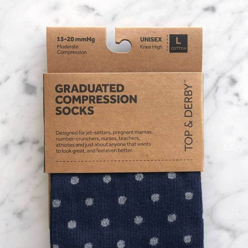 Detail of compression stocking packaging with navy, grey and red socks