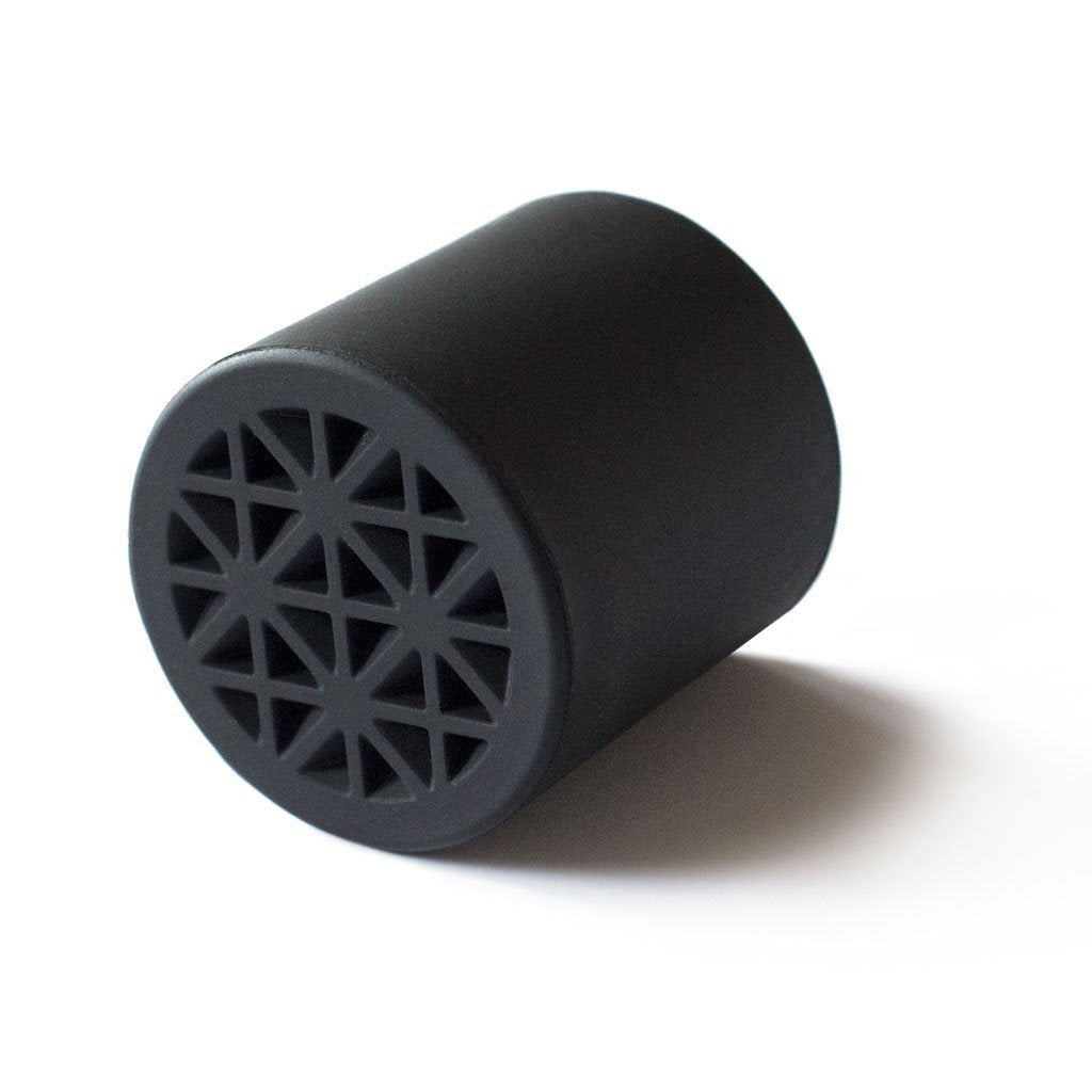 black rubber walking cane tip with shoe sole tread pattern