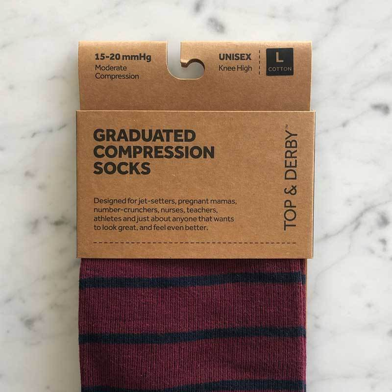 Burgundy compression sock with navy pin stripe and grey band with packaging