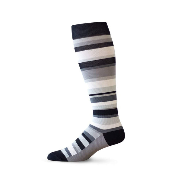 Random striped designer knee high unisex compression socks in black and white