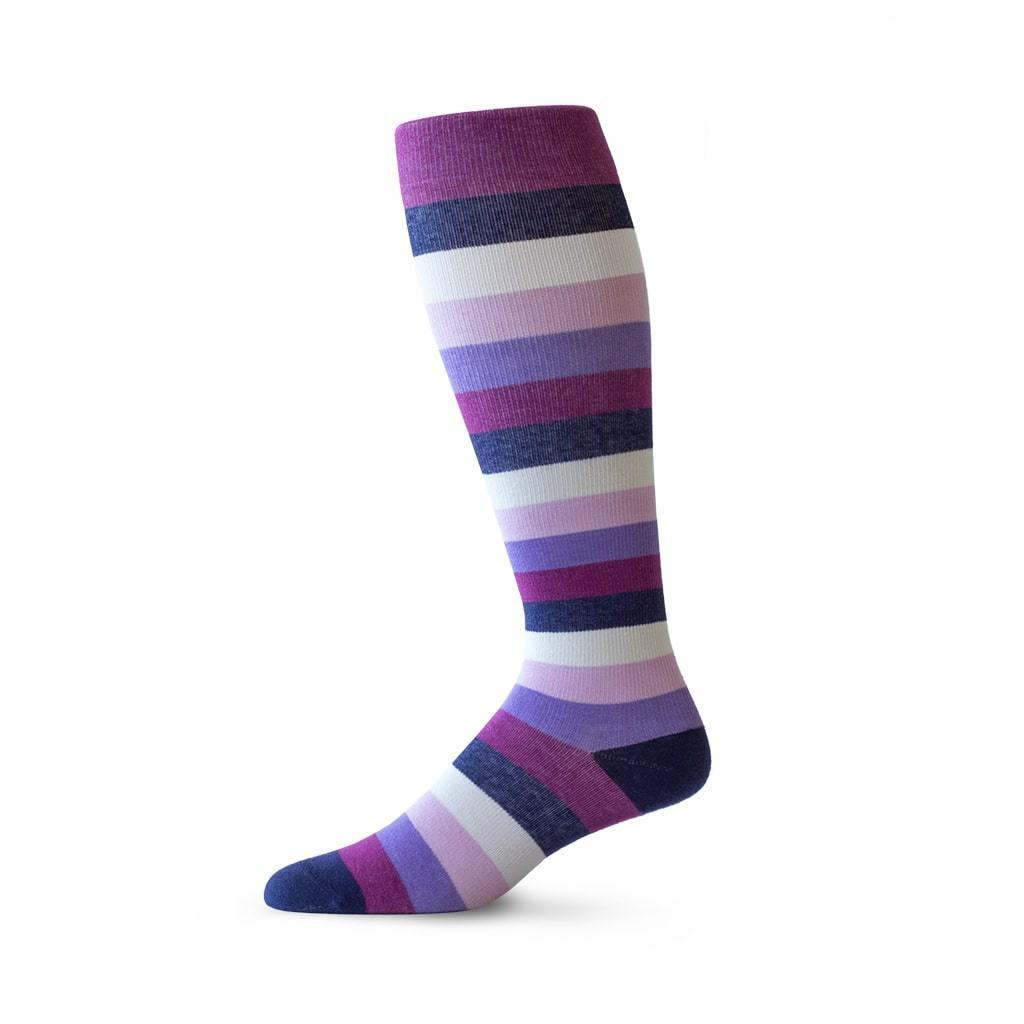 Medium Stripe pattern knee high compression socks in purple and pink