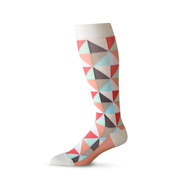 Triangle pattern prescription anti varicose veins socks in coral and cream