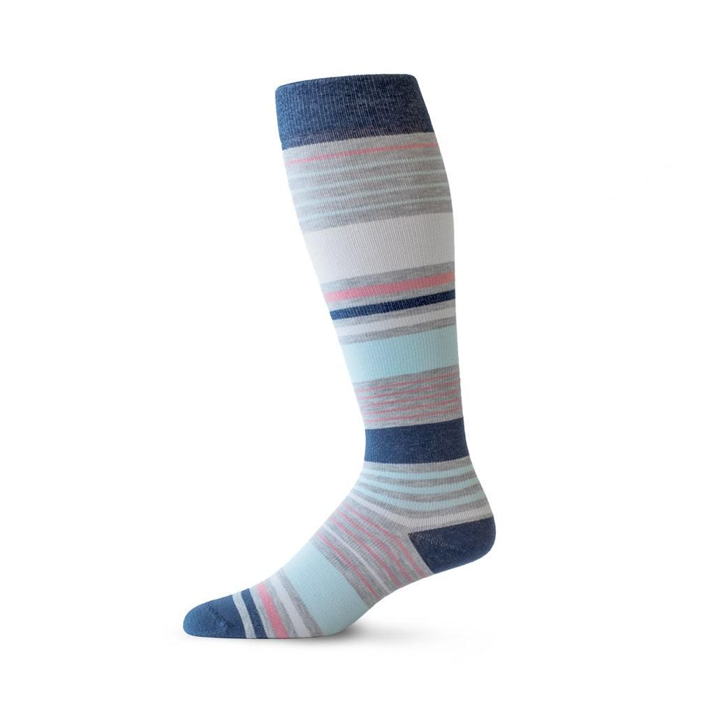 Mixed Stripe pattern compression socks in heather grey, navy and coral