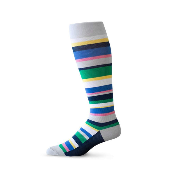 Random stripe pattern compression socks in grey, green and blue
