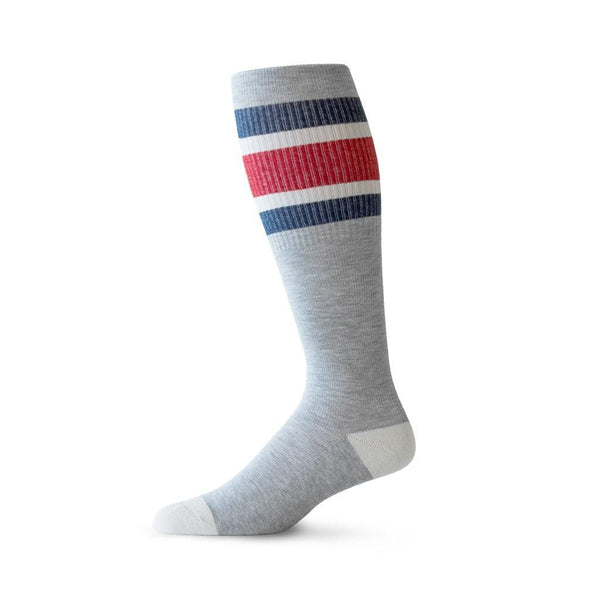 Sports Stripe pattern cotton compression socks for running in heather grey, blue and red