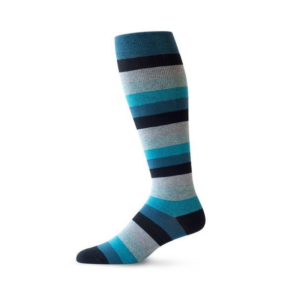 Medium Stripe pattern travel compression socks in blue and black