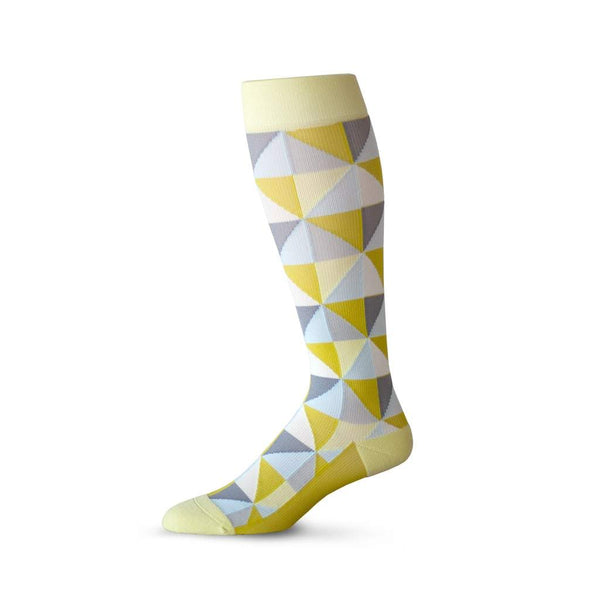 Triangle pattern compression socks in yellow, grey and blue