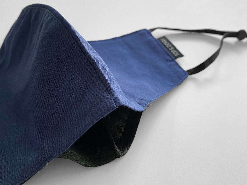 close view showing filter pocket of blue face mask