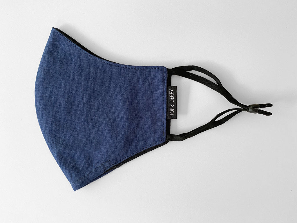 side view of blue cotton face mask