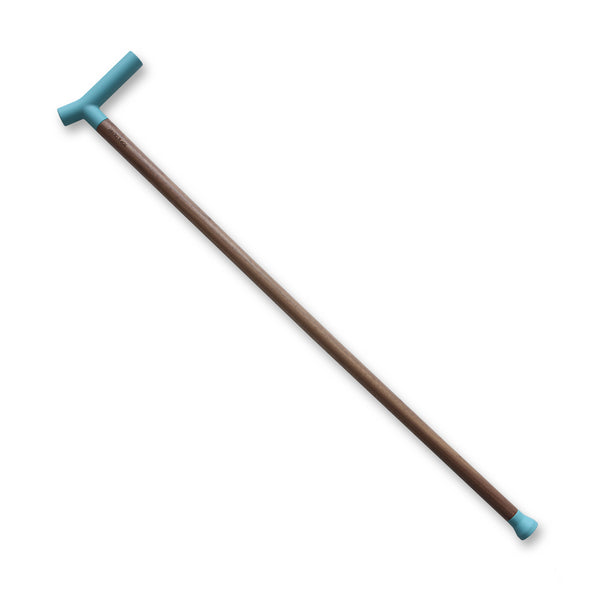 Designer walking stick with walnut and blue silicone handle