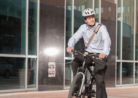 man biking to work to stay fit this fall