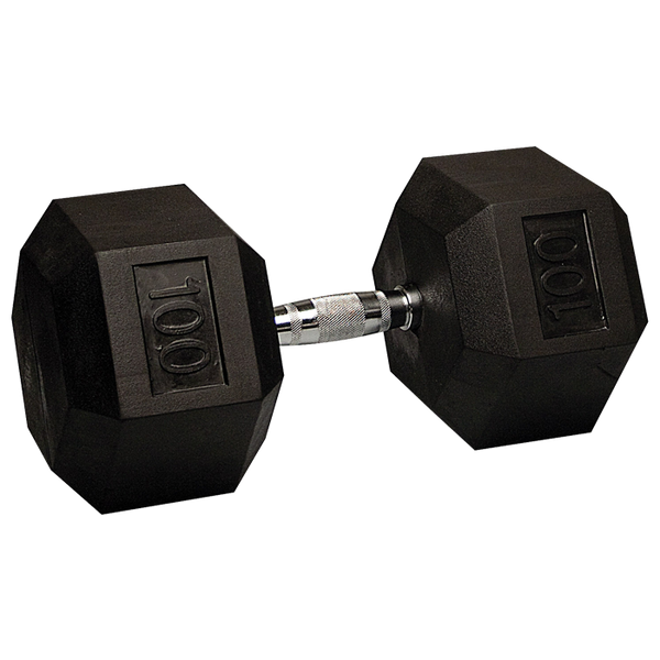 Ultimate Fitness 100lb Rubber Hex Dumbbell