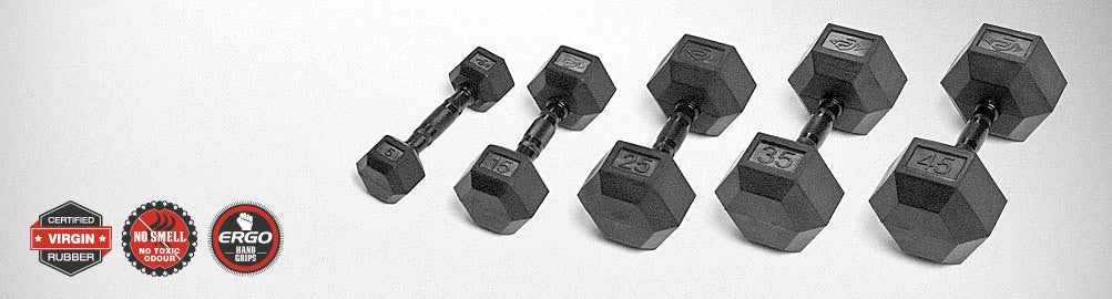 Element Fitness Virgin Rubber Hex Dumbbells