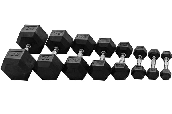 Progression Fitness Rubber Hex Dumbells