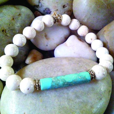 White Fossil with Natural Turquoise Bar