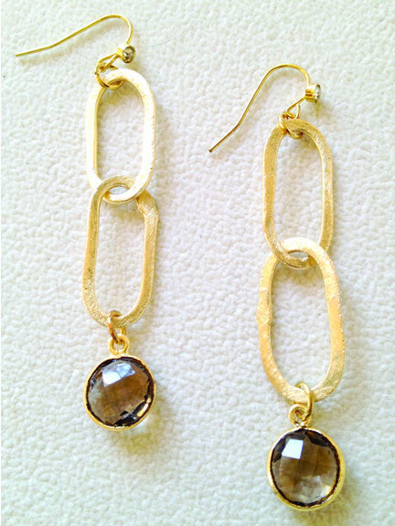 Smoky Topaz with Oval Links