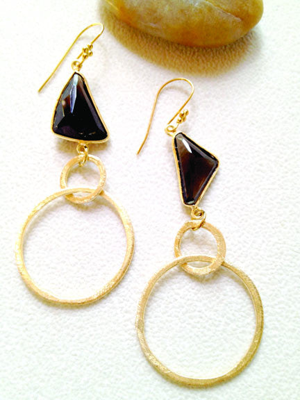 Natural Smoky Quartz with Gold Hoops