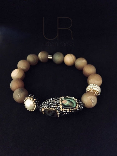 On Sale Black Abalone Freshwater Baroque pearls Matted Iced Bracelets