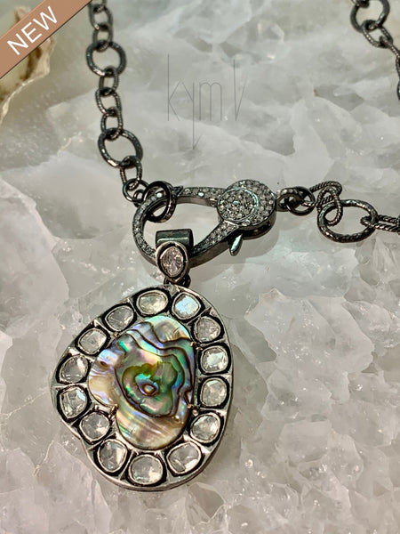 Astonishing Abalone and Slice Diamond Pendant