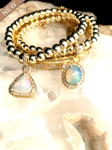 Adorable Opal Bracelets with Diamond Pave Halo!