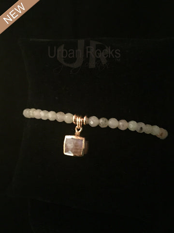 Agate Bracelet with Cube Gemstone Charms Vermeil (silver dipped in gold)