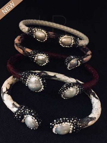 Animal Print and Freshwater Pearl Metal Bracelets