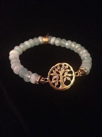 Aquamarine Tree of Life  Bracelet