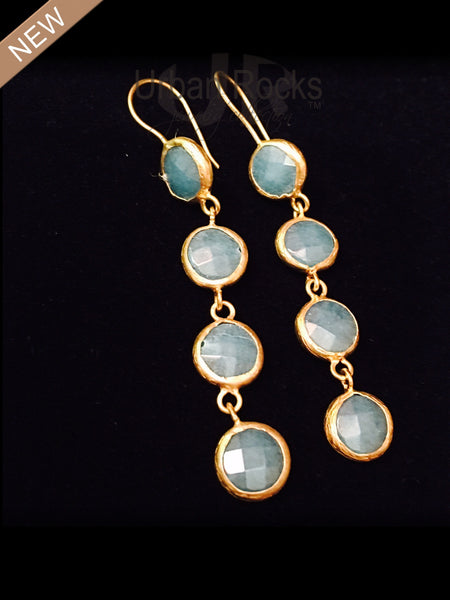 Aquamarine Three Drop Earrings