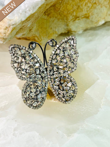 Baguette Diamonds Statement Piece Butterfly Diamond Ring