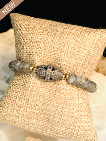Beautiful Labradorite Jim Stones with Black Diamond Bracelet