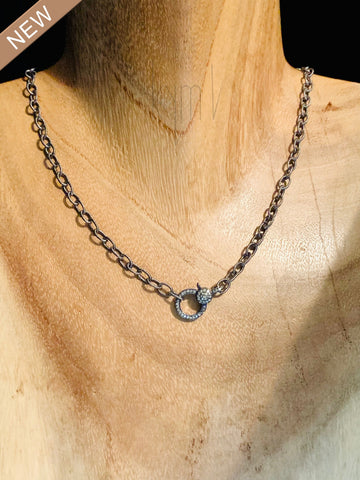 Black Diamond Clasp Small Chain Necklace