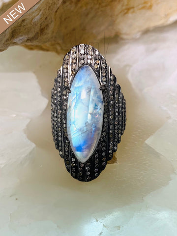 Black Diamond Moonstone Ring
