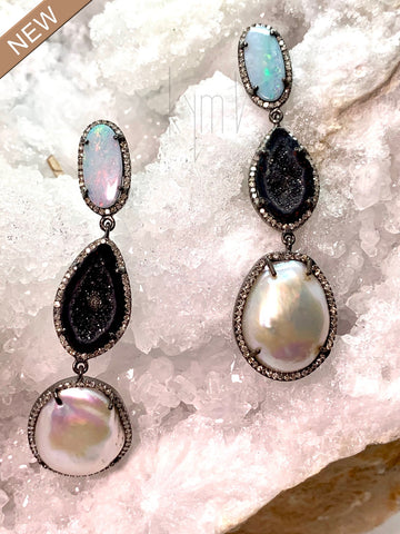 Blue Opal Burnt Red and  Pearl Drop Earrings with Black Diamond Halo