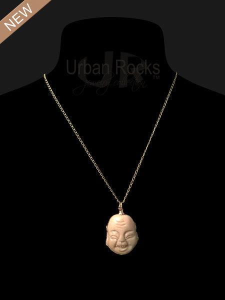 Bone Buddha Head Necklace