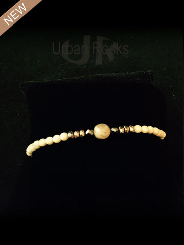 Bone Tiny Colored Beads with Hematite and Caramel Quartz Bracelets