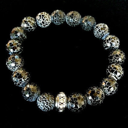 Men's Crushed Onyx with Silver Bezel Detail